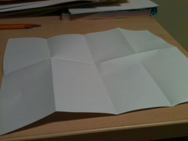 Paper folded into eighths