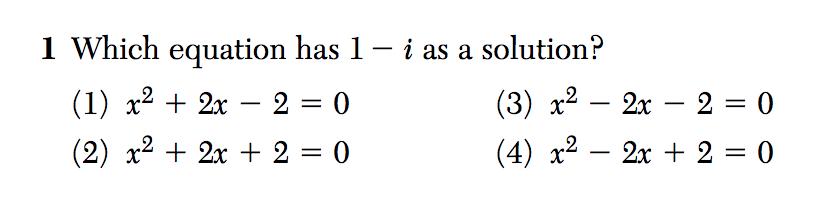 Algebra II August 2016 Regents Exam, Question #1