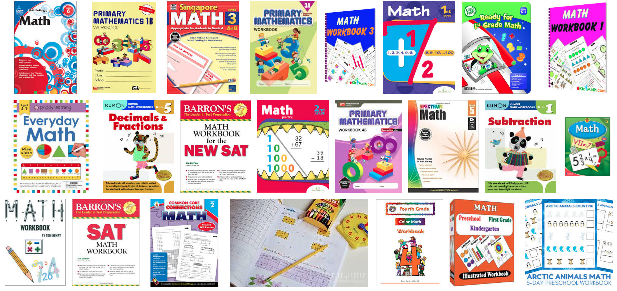 A variety of math workbooks