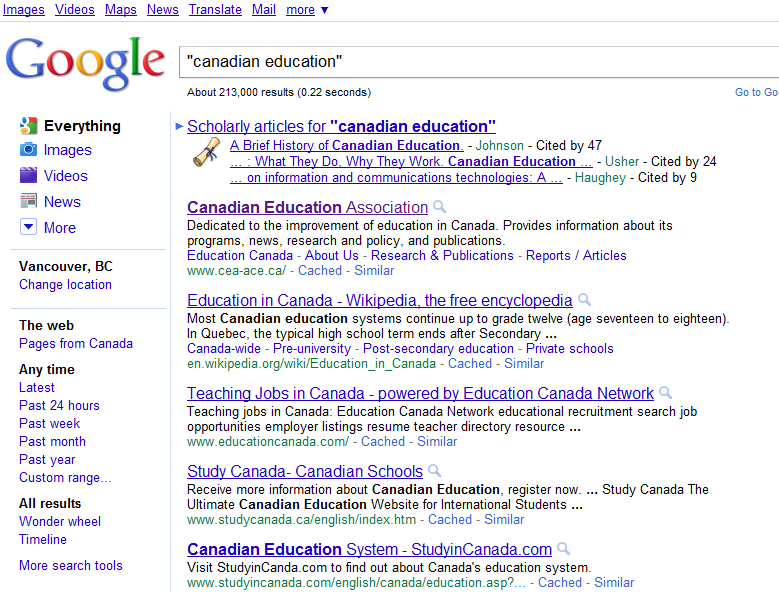 Canadian search results