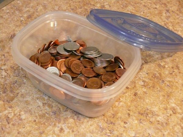Container of coins