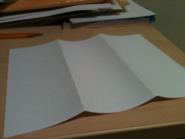 Paper folded into thirds