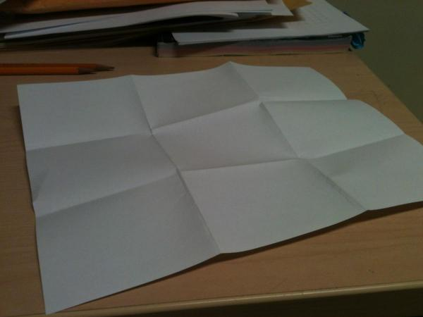 Paper folded into ninths