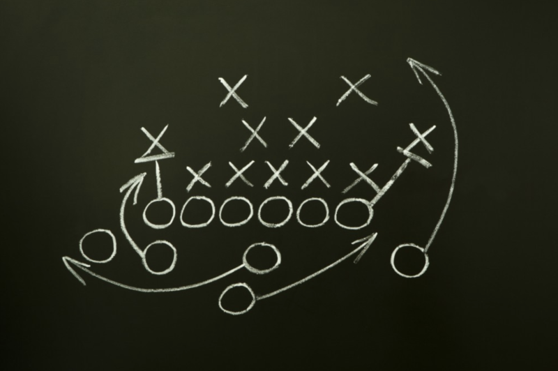 A diagram of a play in sports.