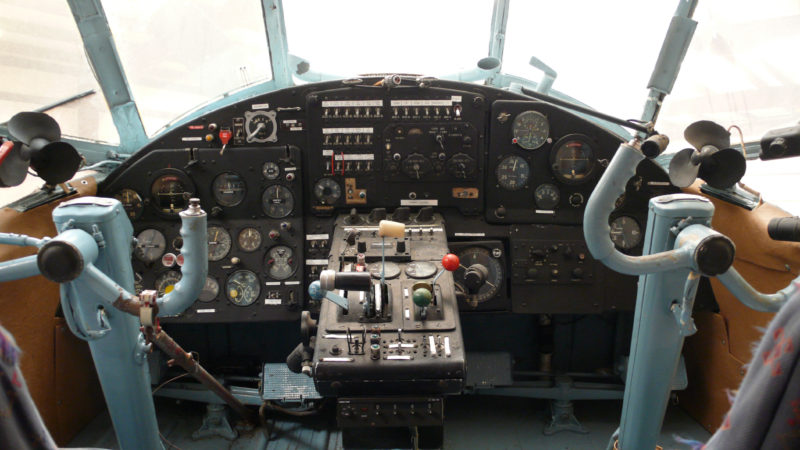The cockpit of an airplane (source)