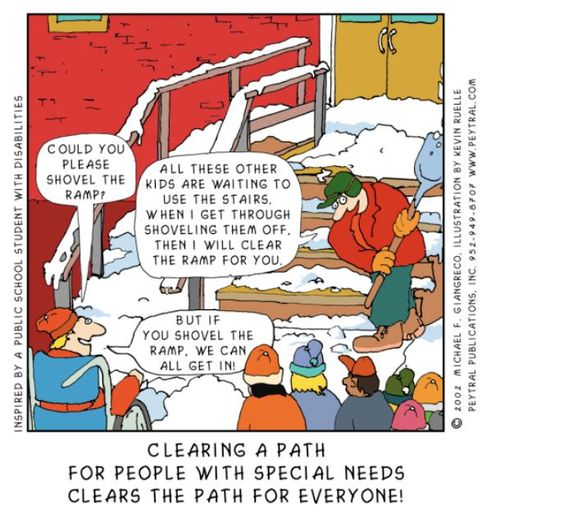 There is a man shovelling the stairs of a school. A child asks him to shovel the ramp, noting that if he does so, everyone can enter the school.