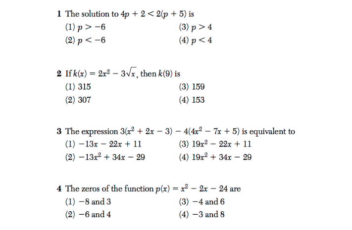 The first 4 problems from the June 2018 Algebra I Regents Exam