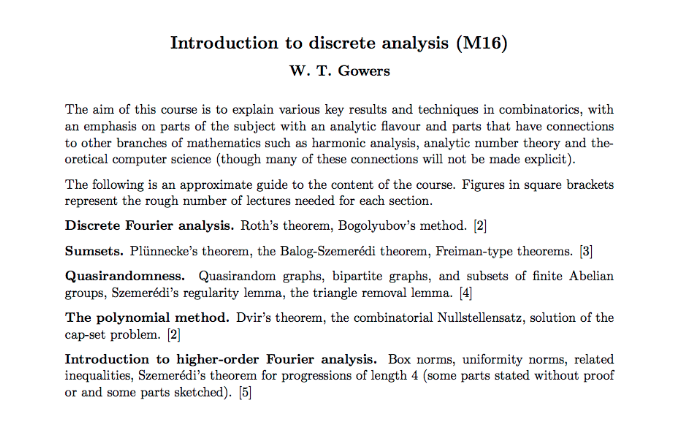 The goals of a Tim Gowers Math Course