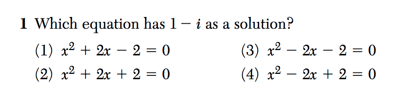Algebra II August 2016 Regents Exam, Question #1