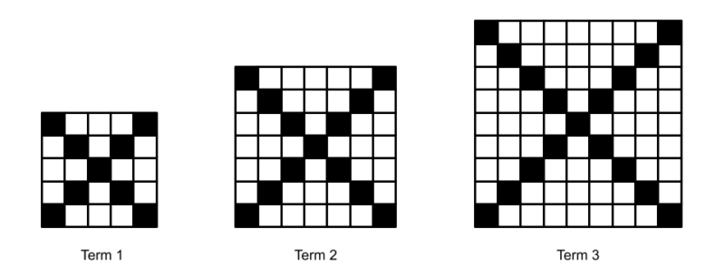 3 squares built from smaller squares, with the diagonals painted black